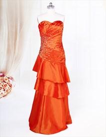 Bright Orange Prom Dresses 2019,Orange Long Layered Prom Dresses