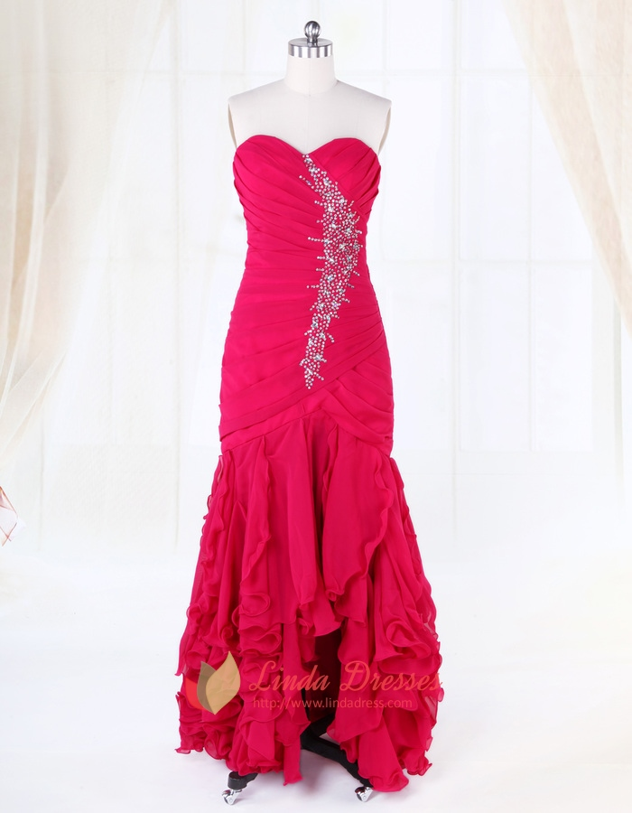 High Low Prom Dresses With Ruffles And Diamonds,Fuschia Evening ...