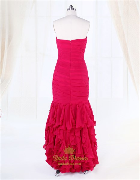 High Low Prom Dresses With Ruffles And Diamonds,Fuschia Evening Gowns