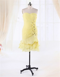 Yellow Cocktail Dress For Prom Night 2016,Short Yellow Cocktail Dress