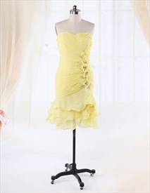 Yellow Cocktail Dress For Prom Night 2019,Short Yellow Cocktail Dress