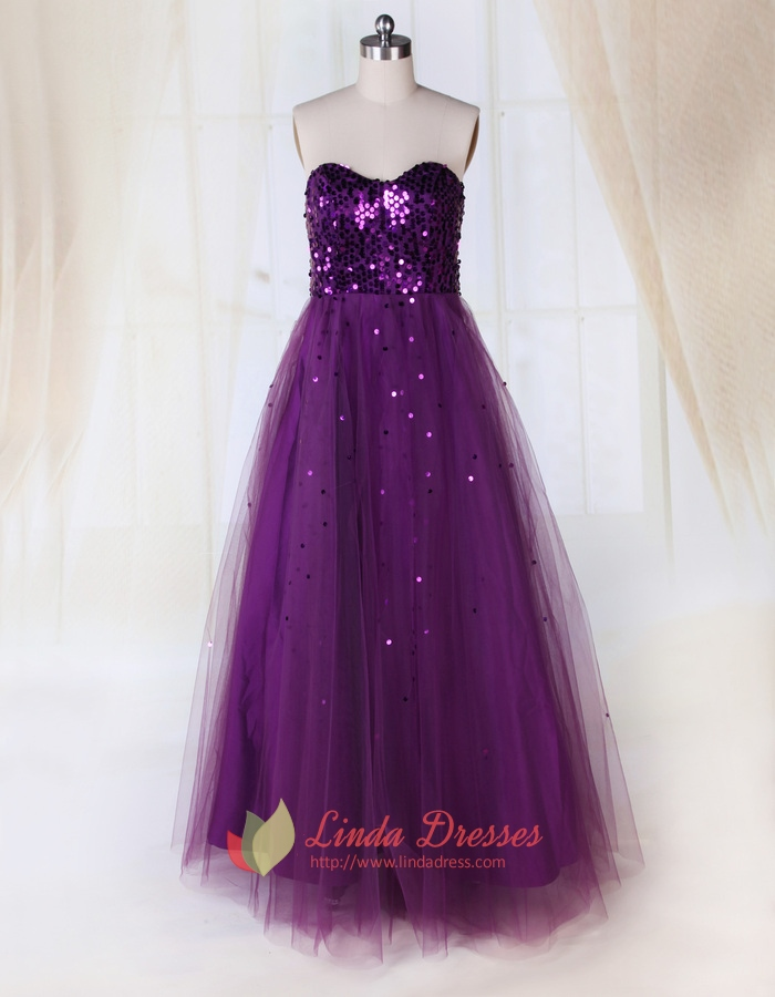 Purple Prom Dresses With Sparkles,Purple Tulle Prom Dresses For ...