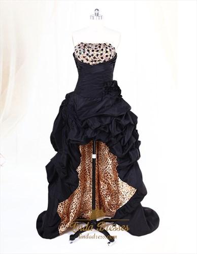 Black High Low Evening Dresses Taffeta Strapless Zipper Sequin Layered Pleating