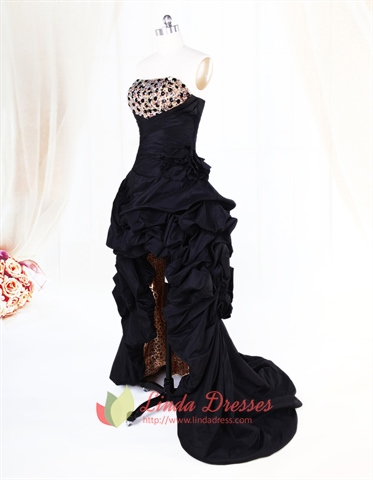 Black High Low Evening Dresses Taffeta Strapless Zipper Sequin Layered Pleating