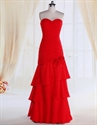 Show details for Red Long Layered Prom Dresses,Red Sweetheart Neckline Dress