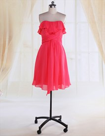 Hot Pink Ruffle Top Cocktail Dress,Cute Hot Pink Cocktail Princess Dress