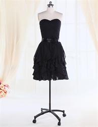Women's Little Black Cocktail Dress With Bow,Short Black Cocktail Dresses