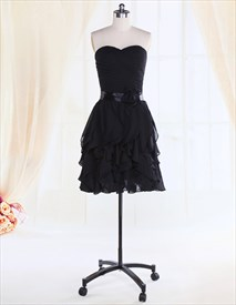 Women's Little Black Cocktail Dress With Bow,Short Black Cocktail Dresses
