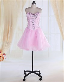 Pink Corset Cocktail Dresses With Sparkles On Top For Juniors,Blush Pink Cocktail Dress