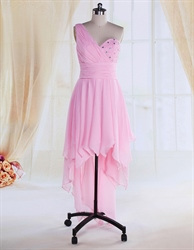 Short Prom Dresses One Shoulder Pink,One Shoulder Pink Chiffon Dress With Ruffles At The Bottom