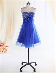 Royal Blue Strapless Cocktail Dress,Blue Cocktail Dresses For Women 2016