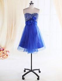 Royal Blue Strapless Cocktail Dress,Blue Cocktail Dresses For Women 2019