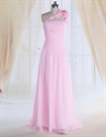 Show details for One Shoulder Pink Bridesmaid Dress With  Flower Strap,Bridesmaid Dresses Chiffon Long 2021