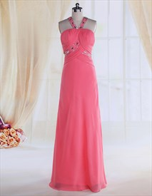Hot Pink Prom Dresses With Straps,Pink Prom Dresses With Open Back