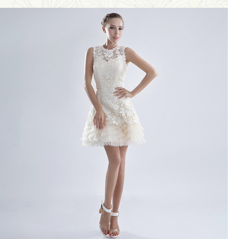 White Cocktail Dresses With Lace Overlay Sleeves,White Cocktail Dresses With Sleeves
