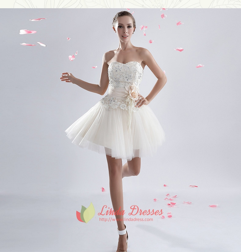 White Cocktail Dress With Lace Overlay,White Tulle Dress Short ...