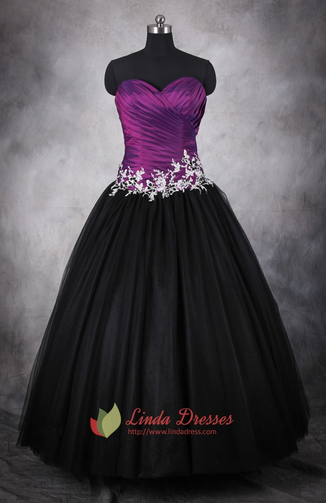 Purple And Black Dresses For Quinceaneras,Dark Purple And ...