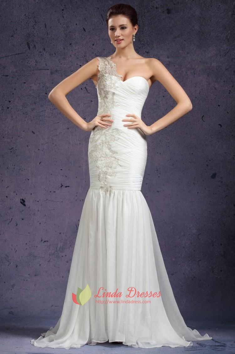 One Shoulder Mermaid Wedding Dresses 2016,Mermaid Wedding Dresses With Sweetheart Neckline And Lace
