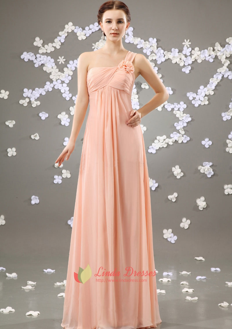 Blush Pink One Shoulder Bridesmaid Dress Long Pale Dresses