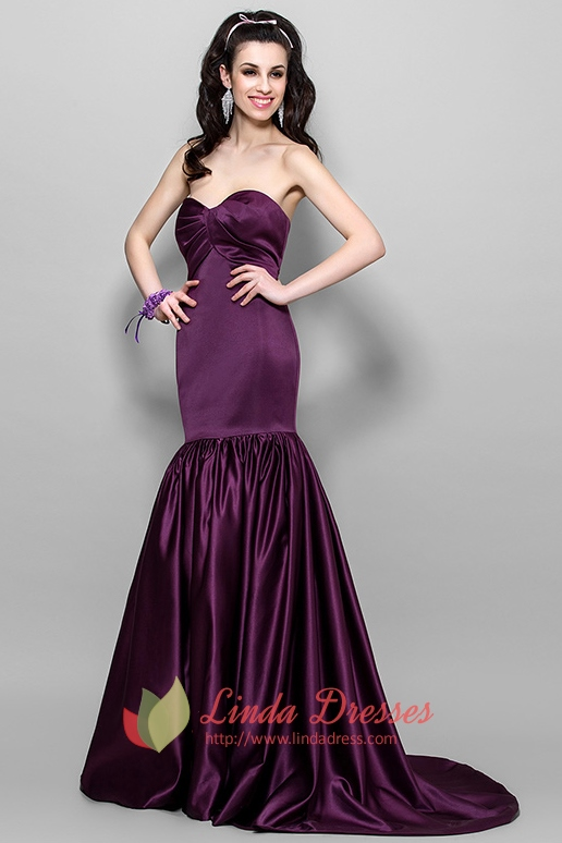 0b233ea2498 Elegant Dark Eggplant Purple Mermaid Prom Dress 2016