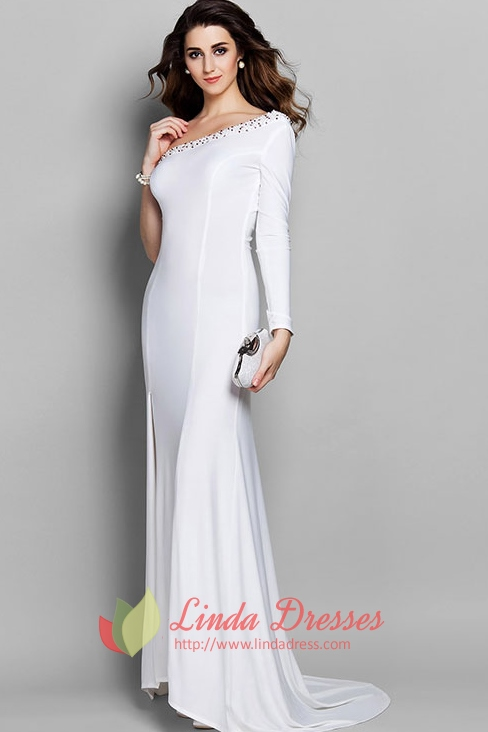 Graceful One Shoulder Beaded Evening Gown With Long Sleeve And ...