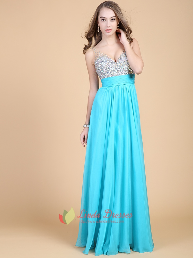 Sequins Tiffany Blue Sweetheart Neckline Prom Dress With Sparkles ...
