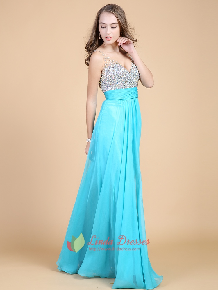 Sequins Tiffany Blue Sweetheart Neckline Prom Dress With