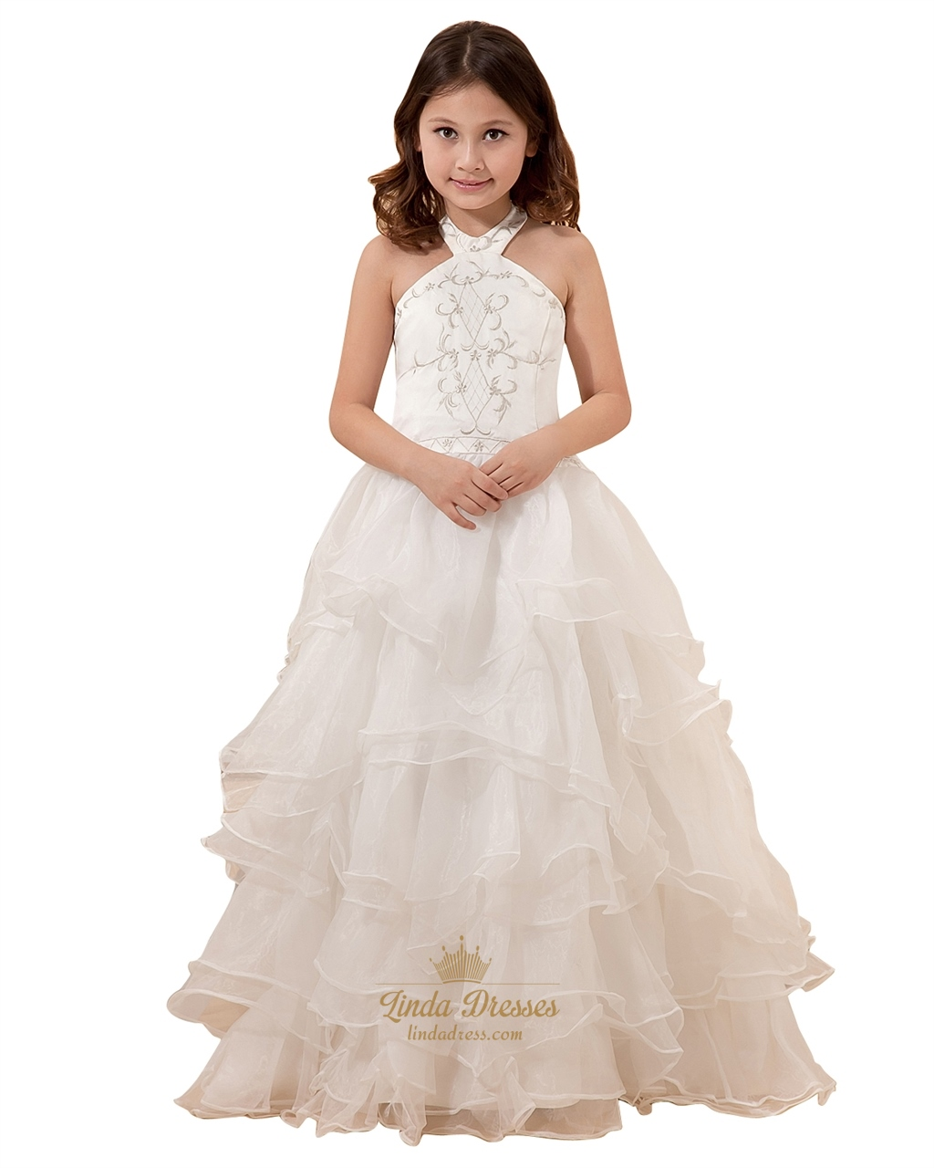 add6c48fbd5 Ivory Halter Neck Organza Ruffled Flower Girl Dresses With Embroidery SKU  -W005