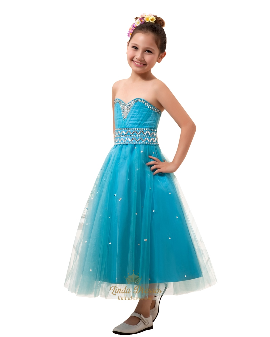 Blue Sweetheart Ankle Length Tulle Flower Girl Dress With Crystal