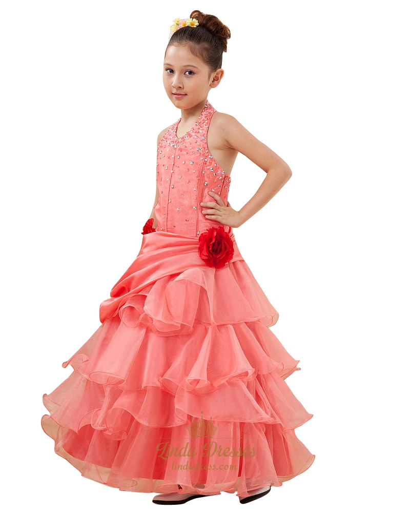 Coral Organza Tiered Skirt Halter Neck Flower Girl Dress Beaded ...
