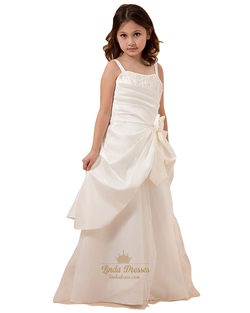 9e12ab0fe1d Ivory Spaghetti Strap Taffeta Tulle Flower Girl Dress With Elegant Bow SKU  -W011
