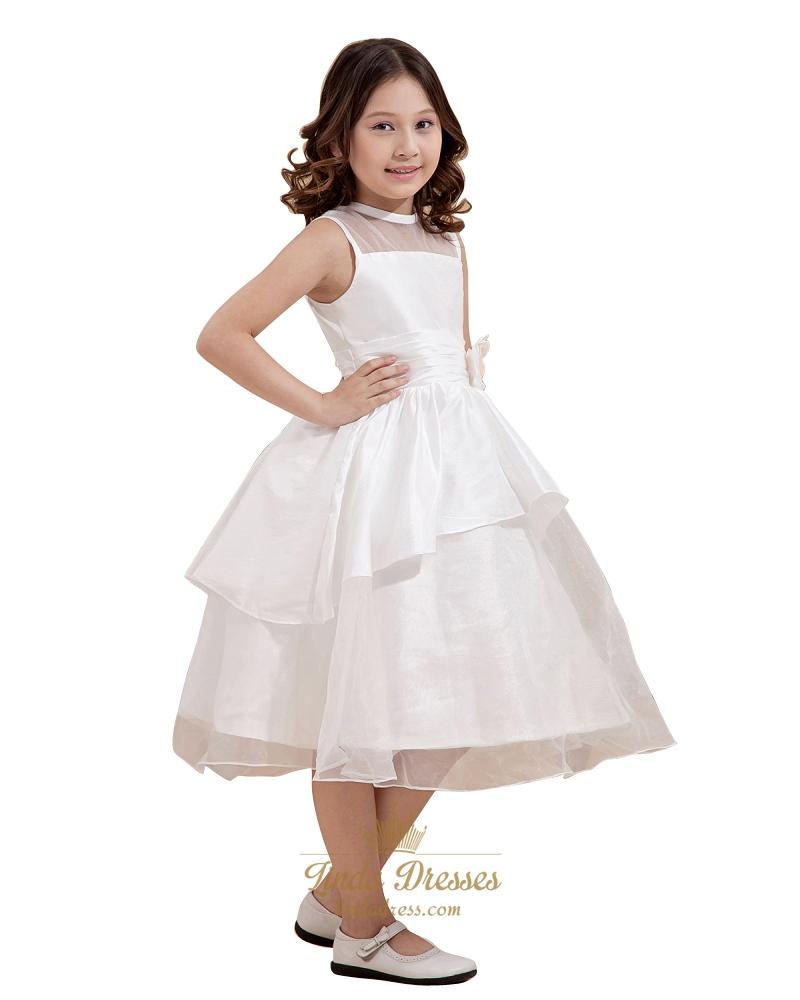 23d5421f0b1 White Layered Organza Tea Length Flower Girl Dresses With Flower Detail SKU  -W019