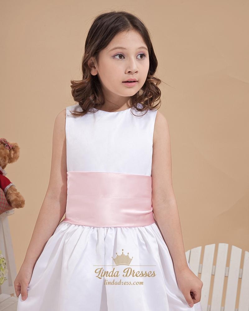 5b9e025d2 White Ankle Length Sleeveless Satin Flower Girl Dress With Pink Sash ...