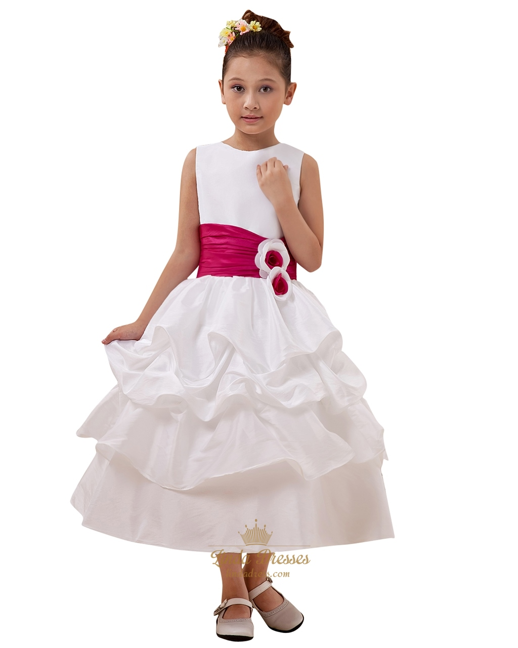 White Ankle Length Taffeta Layered Flower Girl Dress With Hot Pink