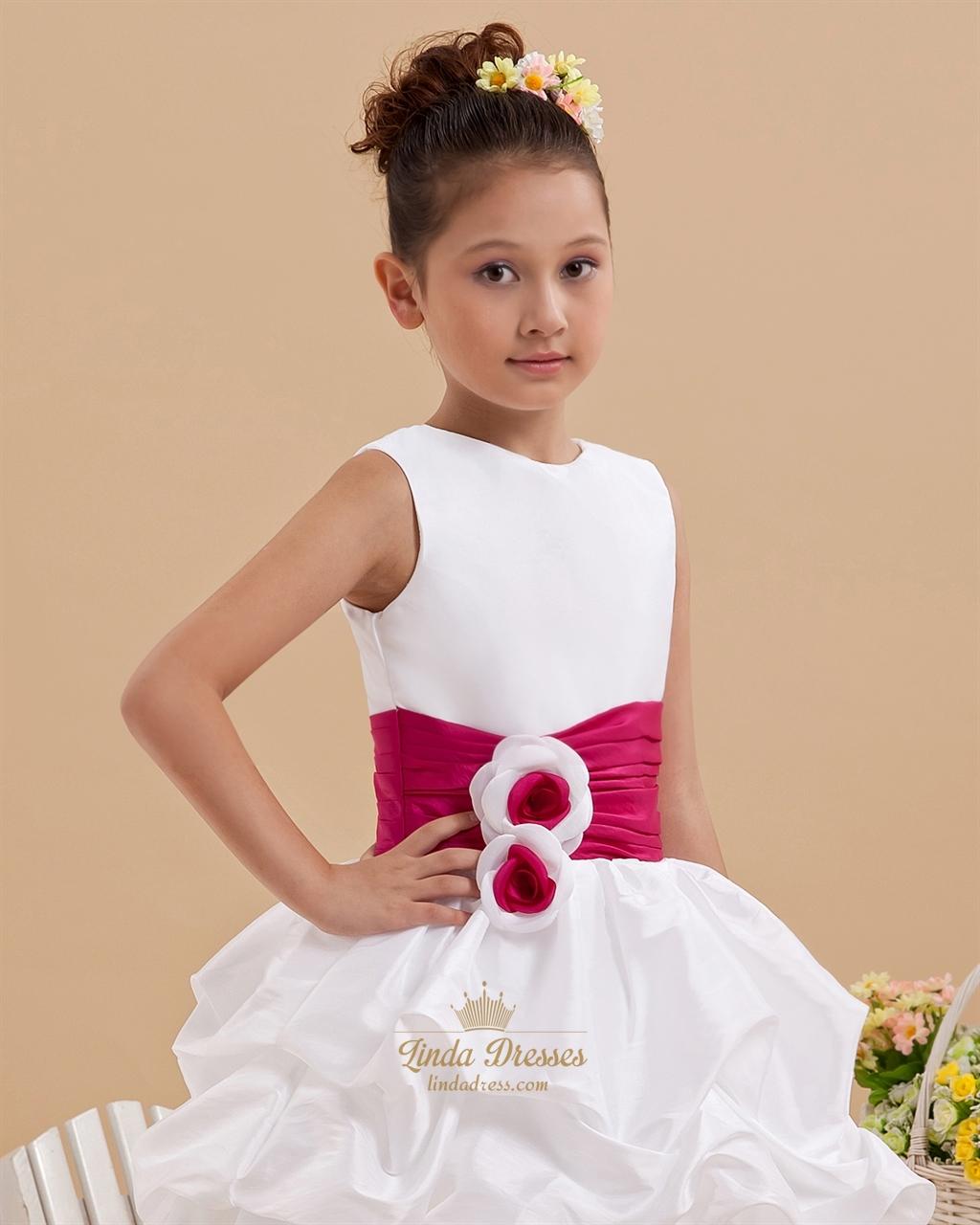 White ankle length taffeta layered flower girl dress with hot pink white ankle length taffeta layered flower girl dress with hot pink sash mightylinksfo Gallery
