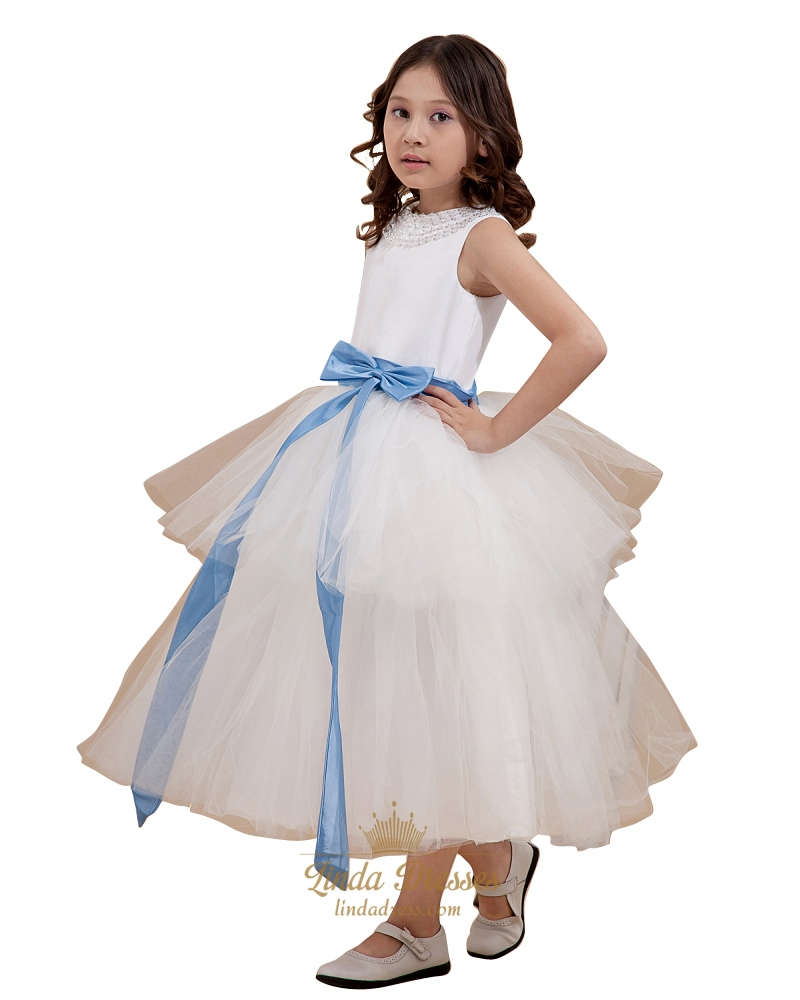 Ivory flower girl dress with blue sash ivory flower girl dress with blue sash 46 izmirmasajfo