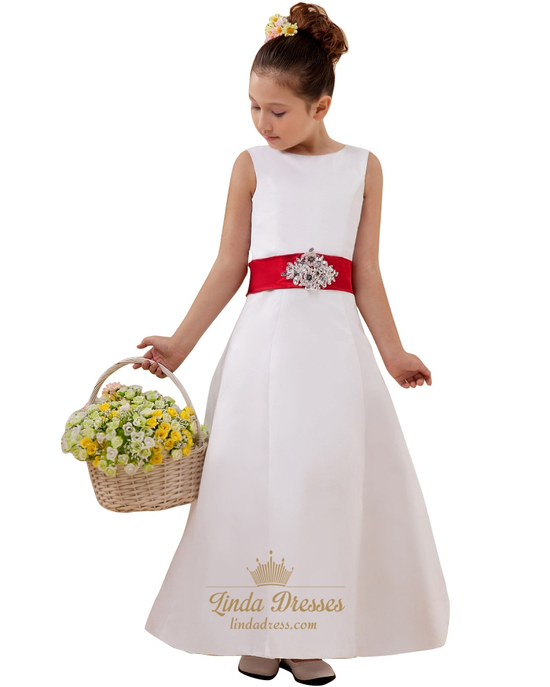 White satin sleeveless button back flower girl dress with red sash white satin sleeveless button back flower girl dress with red sash mightylinksfo
