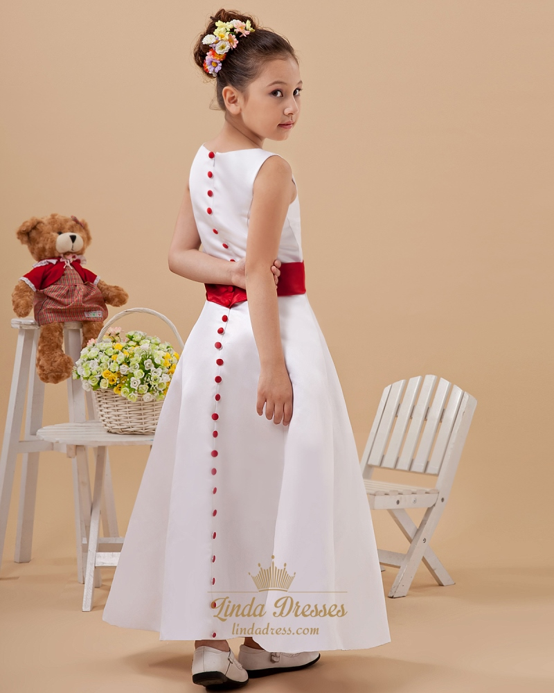 White Satin Sleeveless Button Back Flower Girl Dress With Red Sash