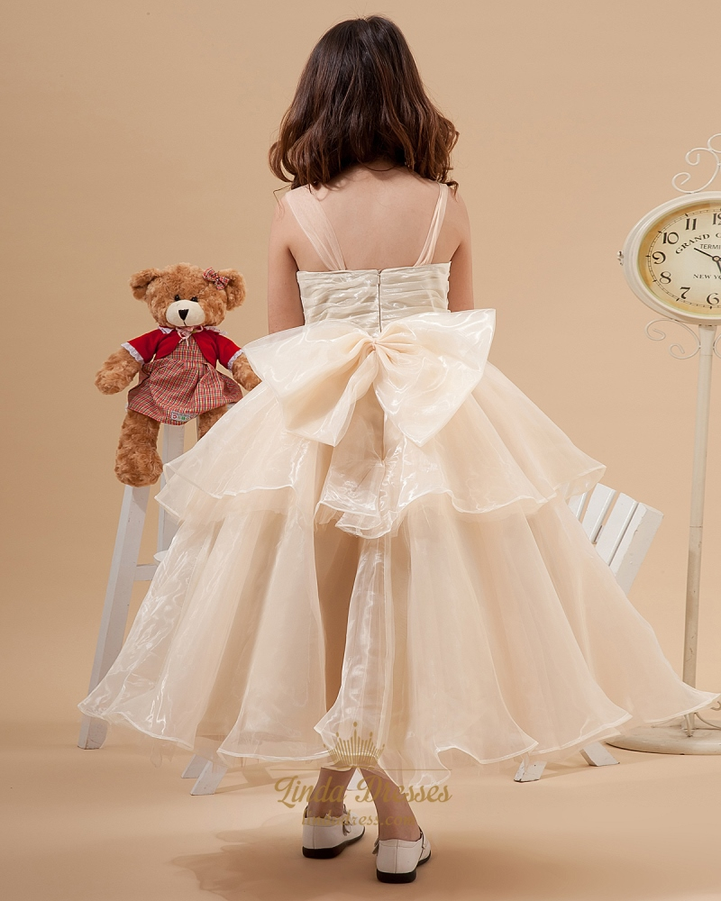 7b66133f72c Champagne Ankle Length Layered Organza Flower Girl Dresses With Bow ...