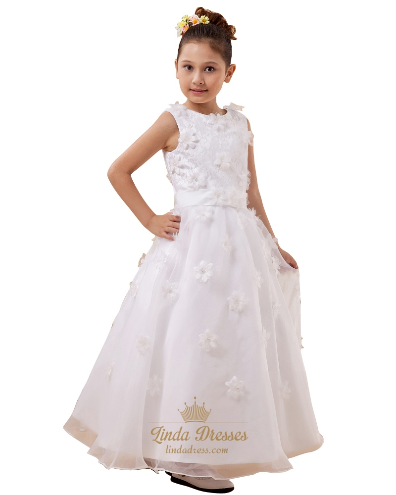 cd4b7bf8d9b3 White Lace Bodice Ankle Length Organza Flower Girl Dress With Petals SKU  -W033