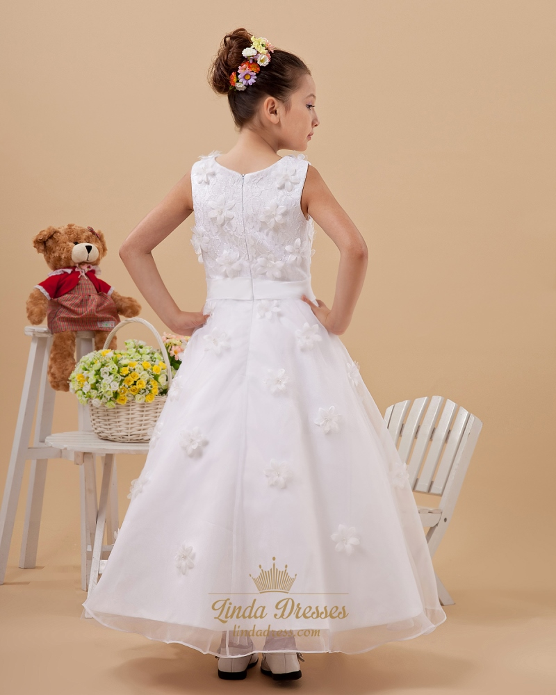 642521831fd White Lace Bodice Ankle Length Organza Flower Girl Dress With Petals ...