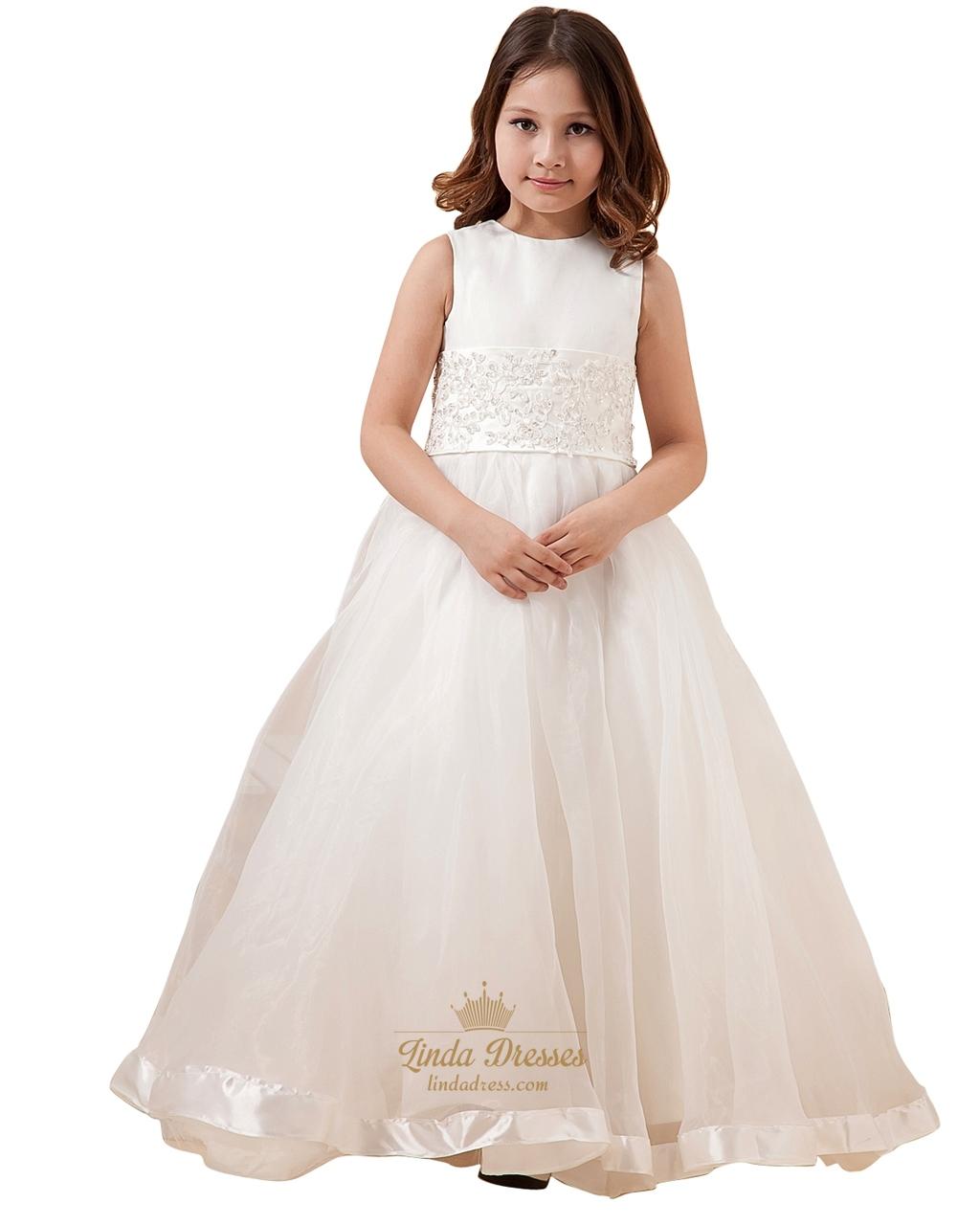 b004b844d09 Ivory A Line Organza Floor Length Flower Girl Dresses With Applique SKU  -W037