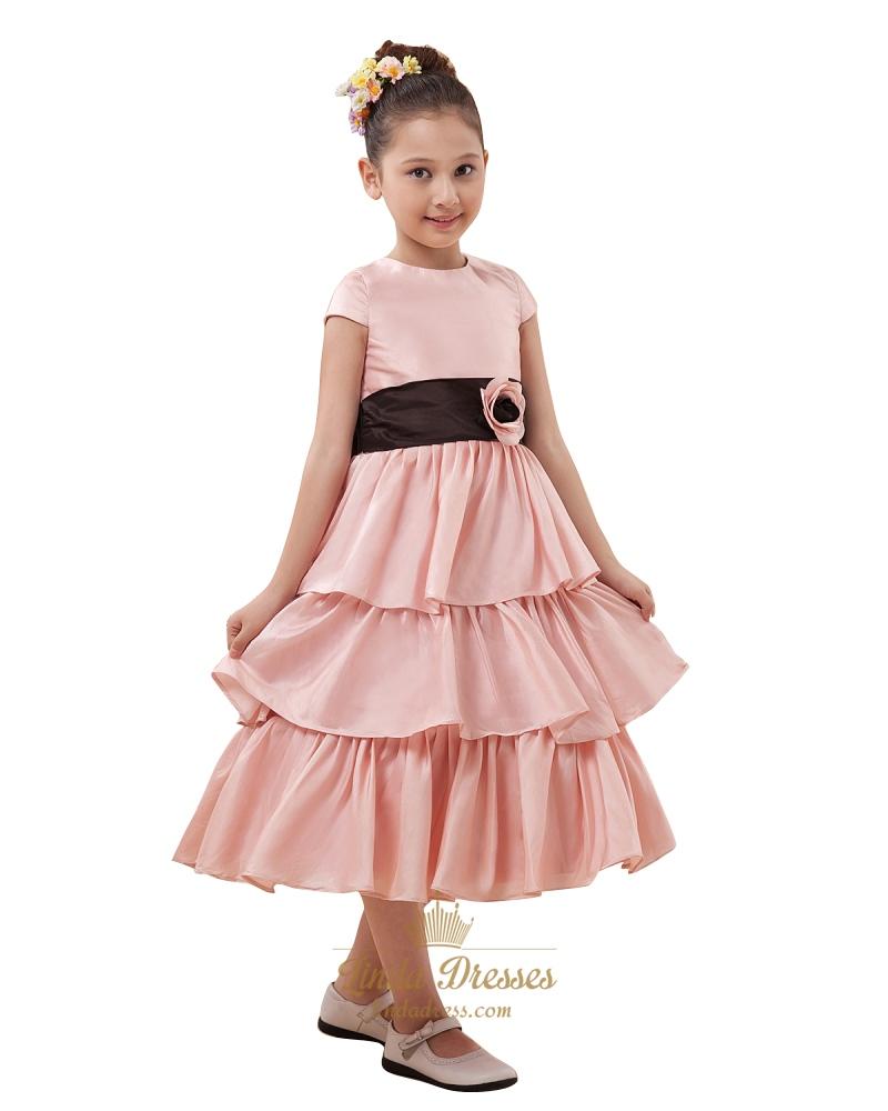 Pink Taffeta Tea-Length Tiered Skirt Flower Girl Dress With Black Sash SKU -W038