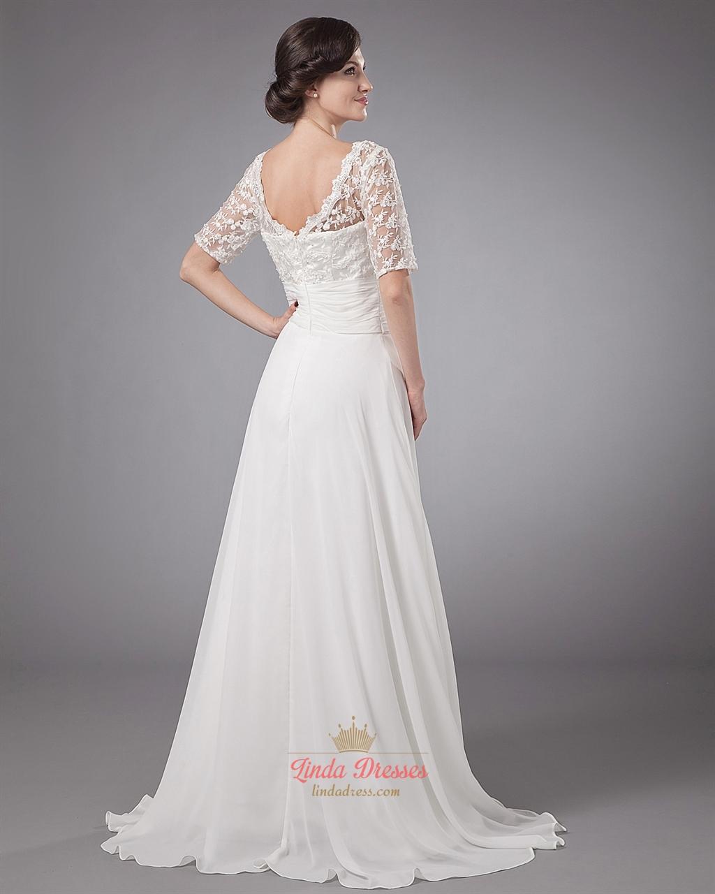 Ivory a line lace bodice chiffon beach wedding dress with for Beach wedding dresses with sleeves