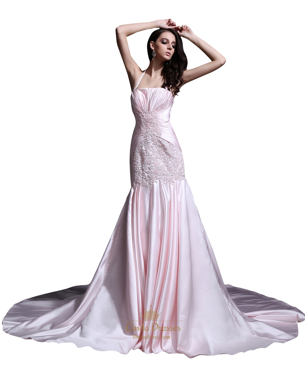 Light Pink Sweep Train Halter Mermaid Prom Dresses With