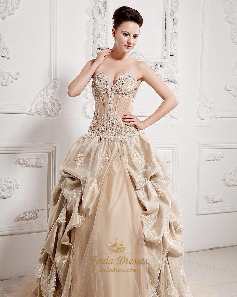 Champagne Strapless Sweetheart Organza Prom Dress With