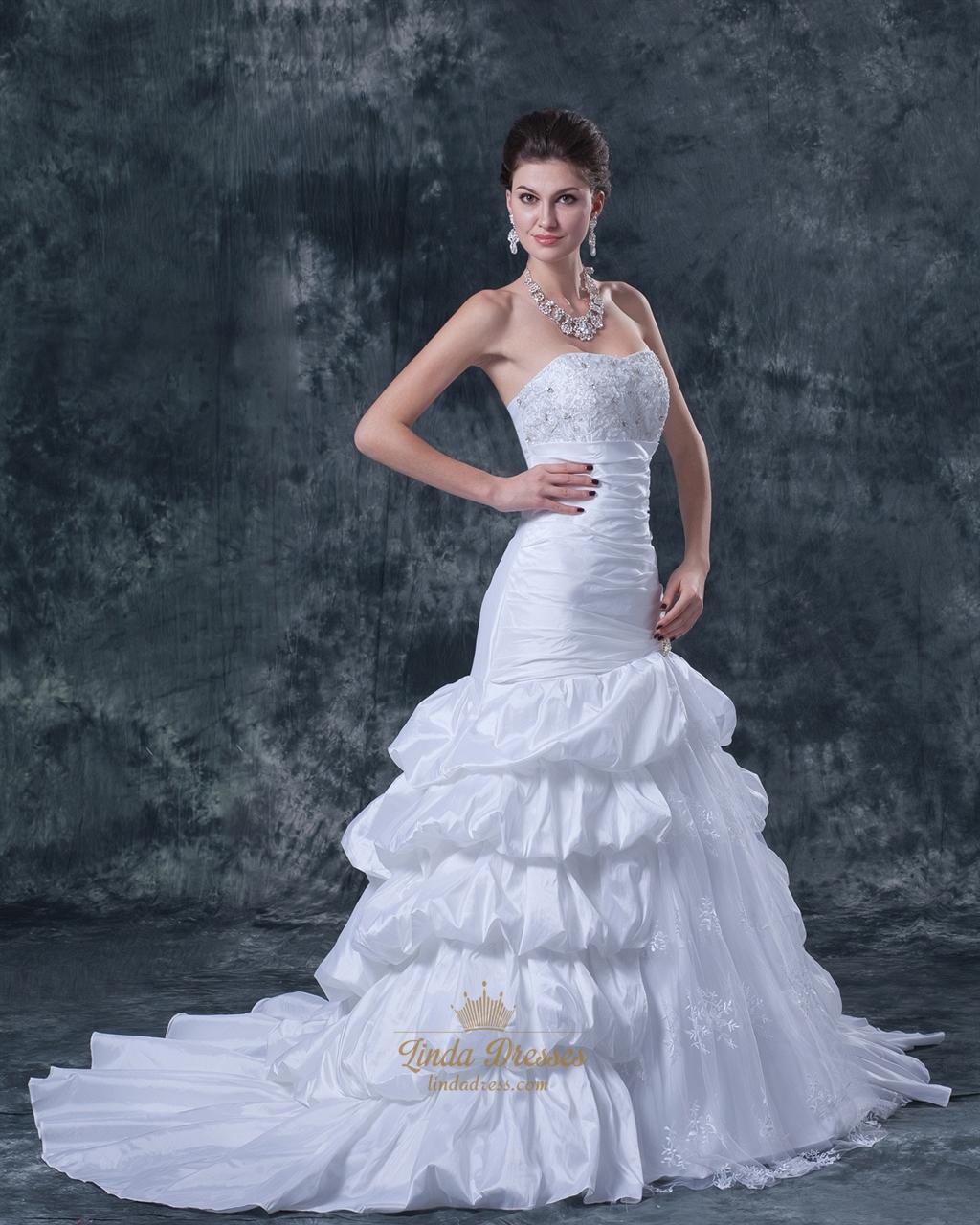 White Taffeta Layered Skirt Strapless Mermaid Wedding Gown