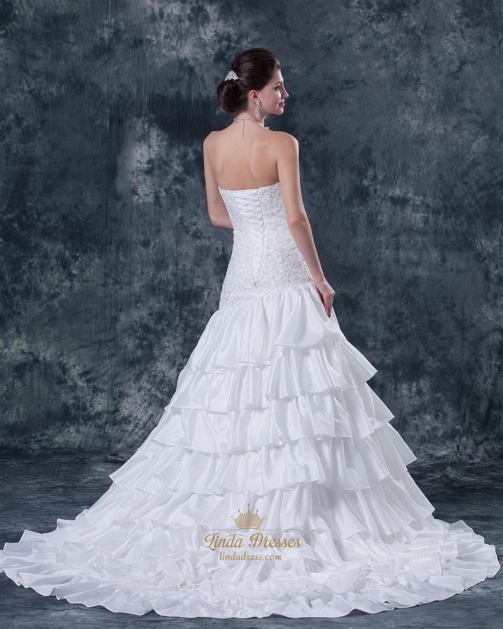 White Mermaid Strapless Beaded Bodice Wedding Dress With