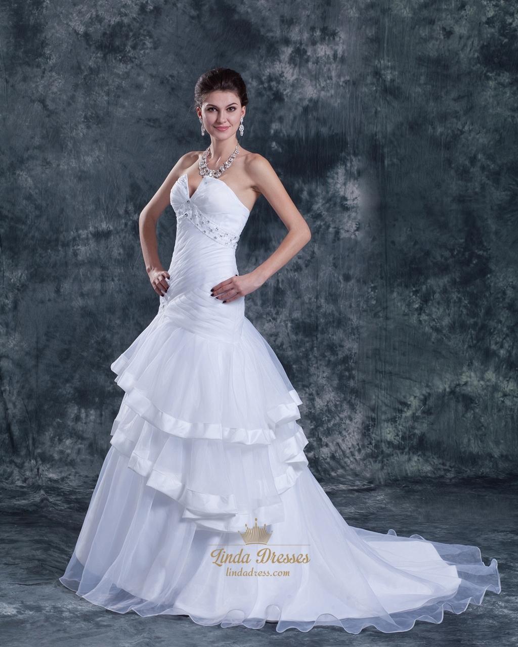 White strapless organza layered skirt mermaid wedding for Organza layered wedding dress
