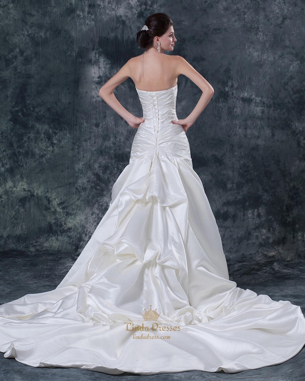 Ivory Strapless Mermaid Sweep Train Wedding Dresses With ...